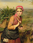 Basket Posters - The Fern Gatherer Poster by Charles Sillem Lidderdale