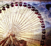 Pier Digital Art Prints - The Ferris Wheel at Navy Pier Print by Mary Machare