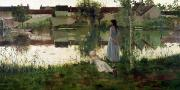 Reflecting Water Paintings - The Ferry by William Stott