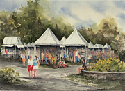 Tent Acrylic Prints - The Festival Acrylic Print by Sam Sidders