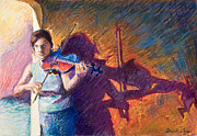 Performers Pastels Framed Prints - The Fiddler from Julliard Framed Print by Ellen Dreibelbis