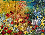 Texture Floral Painting Prints - The Field Print by Teresa Wegrzyn