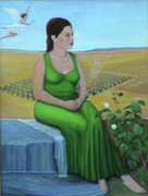 Girl In Wheat Field Painting Framed Prints - The Fiftieth Secret Framed Print by Ben Avant
