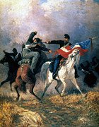 Confederate Flag Photo Posters - The Fight For The Standard Poster by Granger