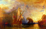 Temeraire Posters - The Fighting Temeraire Tugged to her Last Berth to be Broken up Poster by Pg Reproductions