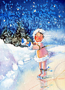 Olympic Illustrations For Children Prints - The Figure Skater 5 Print by Hanne Lore Koehler