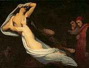 Dante Framed Prints - The figures of Francesca da Rimini and Paolo da Verrucchio appear to Dante and Virgil Framed Print by Ary Scheffer