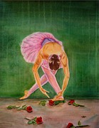 Dance Ballet Roses Painting Posters - The Finale Poster by Bonnie Schallermeir
