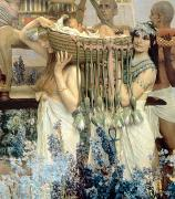Fan Metal Prints - The Finding of Moses by Pharaohs Daughter Metal Print by Sir Lawrence Alma-Tadema
