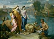 Biblical Framed Prints - The Finding of Moses Framed Print by Nicolas Poussin