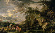 Prophet Moses Prints - The Finding of Moses Print by Salvator Rosa