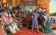 Bible Metal Prints - The Finding of the Savior in the Temple Metal Print by William Holman Hunt