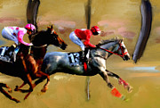 Horse Racing Prints Posters - The Finish Poster by Brian Tones