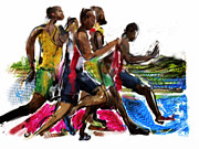 Event Mixed Media Posters - The Finish Line Poster by Russell Pierce