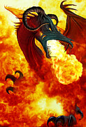 Chronicles Posters - The Fire Dragon Poster by The Dragon Chronicles - Garry Wa
