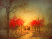 Lamp Posts Prints - The Fire Trees Print by Tara Turner