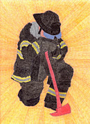 Fireman Drawings Posters - The Fireman Poster by Eric Forster