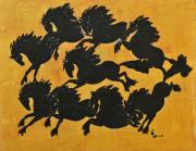 Herd Of Horses Paintings - The Firey Friesians by Liz Pizzo