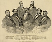 Post-civil War Framed Prints - The First African American Senator Framed Print by Everett