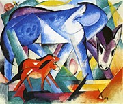 Expressionist Equine Framed Prints - The First Animals Framed Print by Franz Marc
