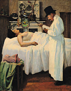 Medicine Painting Posters - The First Attempt to Treat Cancer with X Rays Poster by Georges Chicotot