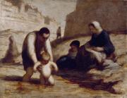 First Family Paintings - The First Bath  by Honore Daumier