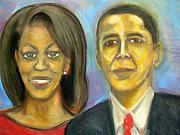 Michelle-obama Drawings - The First Couple by Jan Gilmore