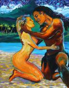 Embrace Paintings - The First Kiss by Karon Melillo DeVega