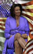  Michelle Obama Prints - The First Lady-American Pride Print by Reggie Duffie
