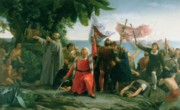 Exploration Paintings - The First Landing of Christopher Columbus by Dioscoro Teofilo Puebla Tolin