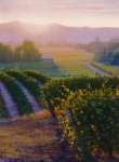 Sunset In Wine Country Paintings - The First Light On The Vineyard by Joe Mancuso