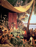 Native Americans Paintings - The first Mass held in the Americas by Pharamond Blanchard