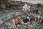 Kneeling Metal Prints - The First Miraculous Draught of Fish Metal Print by Tissot