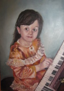 Pianos Paintings - The first piano lesson by Alina Blaszczyk
