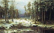 Russia Paintings - The First Snow by Pg Reproductions