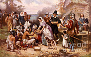 Thanksgiving Art Photos - The First Thanksgiving, 1621 by Photo Researchers