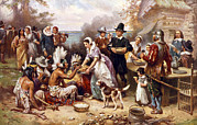 1600s Posters - The First Thanksgiving, 1621, Pilgrims Poster by Everett