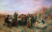 Thanksgiving Art Photos - The First Thanksgiving by Granger