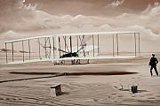 Historic Aviation Prints - The First to Fly Print by Kenneth Young