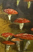 Toadstools Painting Originals - The First Toadstools of Winter  by Tony Northover
