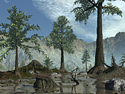 Prehistoric Digital Art - The First Trees Begin To Populate Earth by Walter Myers