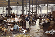 Open Air Framed Prints - The Fish Hall at the Central Market  Framed Print by Victor Gabriel Gilbert