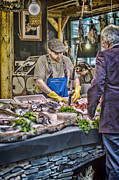 Customers Posters - The Fish Monger Poster by Heather Applegate
