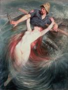 Mythological Painting Posters - The Fisherman and the Siren Poster by Knut Ekvall