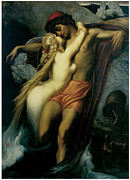 Frederick Framed Prints - The Fisherman and the Syren Framed Print by Frederick Leighton