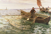 Netting Painting Framed Prints - The Fisherman Framed Print by Charles Napier Hemy