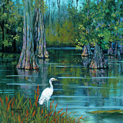 Crane Painting Framed Prints - The Fisherman Framed Print by Dianne Parks