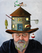 Weather Vane Prints - The Fisherman Print by Leah Saulnier The Painting Maniac