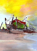 Docked Boats Painting Posters - The Fisherman of the Sea Poster by Kemberly Duckett