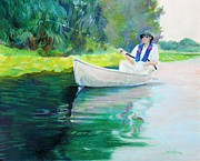 Canoe Mixed Media Originals - The Fisherman by Sheila Wedegis